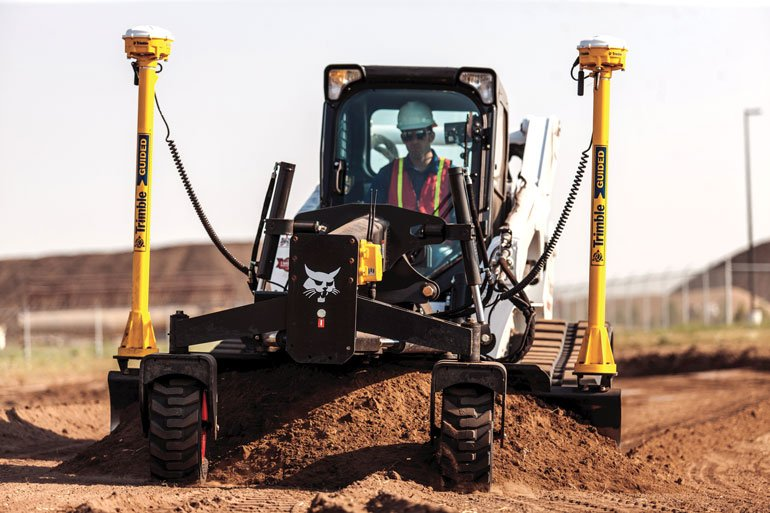 fully integrated Trimble 3D system for grading by Bobcat