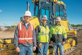 Kirby-Smith Machinery Territory Manager Peyton Chatham meets with Bret Barnhart Excavating Owner Bret Barnhart and Site Work Superintendent Justin Delcoure