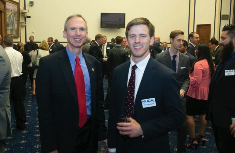 NUCA Director of Government Relations Bryce Mongeon (right) met with Rep. Dan Lapinski