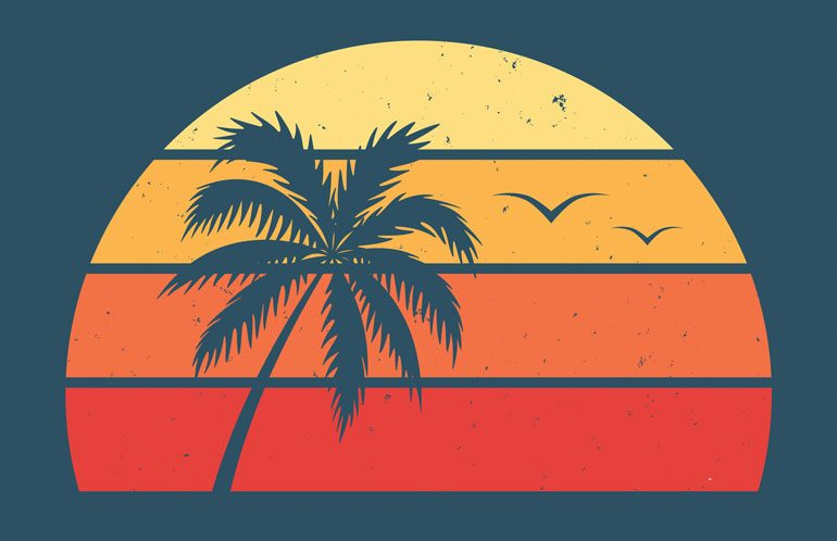 palm tree and sunset illustration