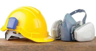 Hard Hat and Gas Respirator