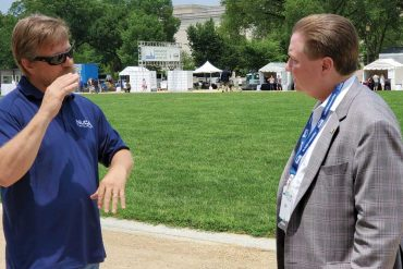 NUCA TT Committee Chair Jeff Rumer (l) explains to a CT land developer