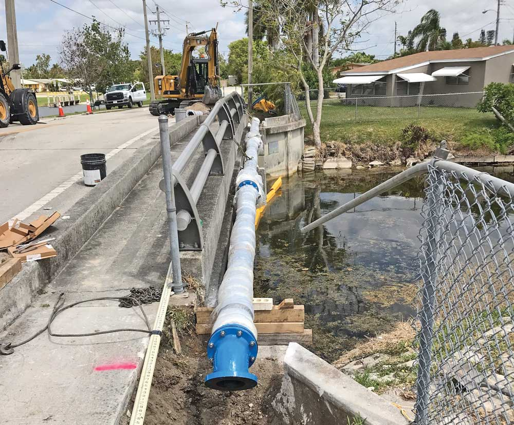 replacing old aerial crossing pipes