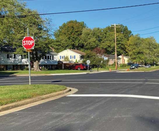 Completed roadway restoration on Hayfield Road.